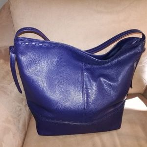 Cole Haan Dark Blue Leather Tote New with Tags